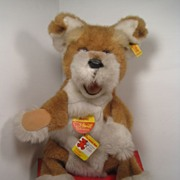 Large Steiff Plush Dog Hand Puppet