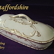 SALE MINTON Staffordshire Pottery Victorian Dresser or Vanity BRUSH BOX with Diamond Mark HAND
