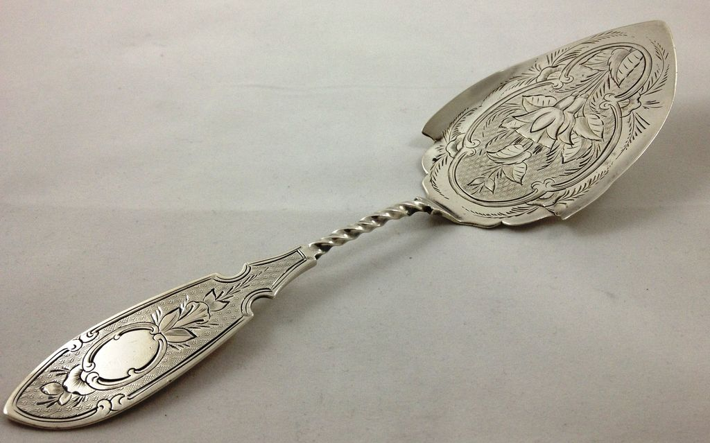 Beautiful Coin Silver Cake Server From Sterlingisland On