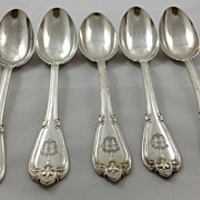 Set of five very high quality Swedish 830 silver spoons (14.5 ozs!) c. 1888