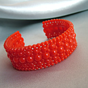 Unusual Vintage Red Celluloid Cuff Bracelet