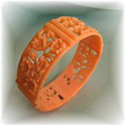 SALE PENDING Unusual Vintage Peach Celluloid Bangle