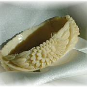 Rare lotus celluloid bangle in ivory color