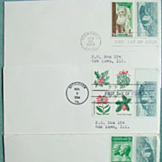 REDUCED Three 1964 first day covers with 8 old US stamps