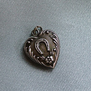 Vintage Sterling lucky horseshoe and flower puffy heart charm