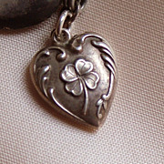 SOLD Vintage Sterling lucky 4 leaf lover puffy heart charm