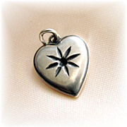 REDUCED Vintage slim puffy sterling silver  heart charm