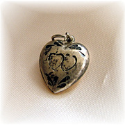 Vintage sterling silver puffy heart charm etched twin hearts Charlene