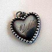 SALE PENDING Vintage Sterling Puffy Heart charm Beaded Edge O. M.