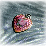 Pink guilloche enamel sterling silver heart charm with pink rose uncommon