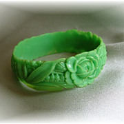 SALE PENDING Jadite Green Vintage Floral Celluloid Bangle Bracelet