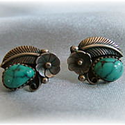 Vintage Turquoise and Sterling Earrings Native American Style