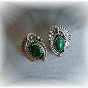 Native American Style Sterling Earrings Green Stones