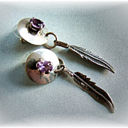 Sterling silver and amethyst  feather dangle earrings