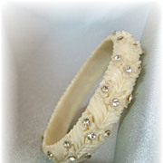 Uncommon vintage celluloid bangle bracelet with rhinestones