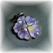 Adorable sterling silver with lavender enamel  pansy charm ~rare
