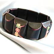 Shabby vintage romantic celluloid and early plastic stretch bracelet