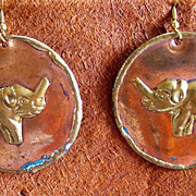 Vintage copper and brass elephant earrings