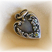 Vintage sterling puffy heart charm floral with enamel traces