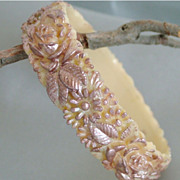 Vintage mid century celluloid bangle bracelet ivory color with pearly pink finish