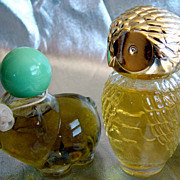 Two figural cologne bottles, owl and pig