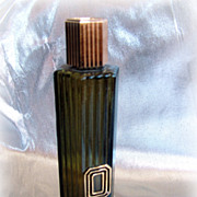 Vintage Black Suede after shave bottle 6 sided with ridges
