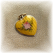 Very rare color golden yellow guilloche rose sterling silver heart charm