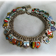 SALE PENDING European travel charm bracelet loaded with 45 charms enamel shields