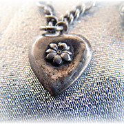 Vintage sterling silver puffy heart charm flower initial M