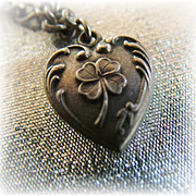 Vintage sterling silver puffy heart charm 4 leaf clover