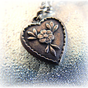 Vintage sterling silver puffy heart charm floral