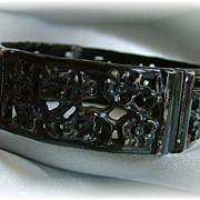 Vintage black celluloid open panel bangle bracelet