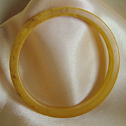 Dainty vintage bakelite slice bangle bracelet marbled  yellow