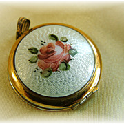 Vintage guilloche enamel round locket gold tone with white and pink