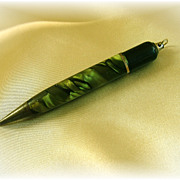 Chatelaine vintage mechanical pencil engraved green marbled finish
