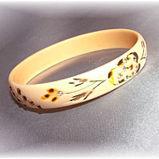 Vintage celluloid bangle bracelet with carving, hand painting and  clear and amber  rhinestone