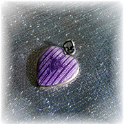 Rare sterling silver with lavender guilloche enamel heart charm