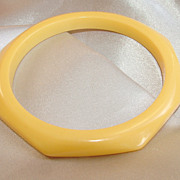 Vintage light yellow octagon slim bangle bracelet