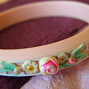Peach Celluloid Bangle Bracelet with Flowers and Overlay