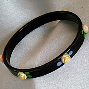 Vintage black celluloid bangle with applied pink roses