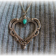 Vintage Towle sterling silver heart pendant with turquoise color stone