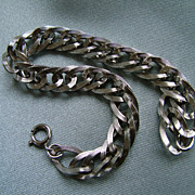 Sterling silver fancy link chain charm bracelet