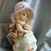 Vintage Price music box sculpture girl with rabbits