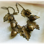 Vintage brass acorn and leaves necklace