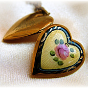 Heart locket with yellow guilloche enamel and hand painted pink rose on chain