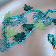 Vintage celluloid necklace blue and green leaves blue chain