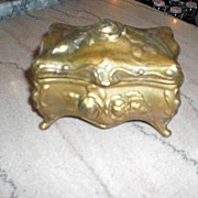 Small Art Nouveau Gilt Bronze Jewelry Casket  Free Shipping