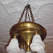 5 Arm Electric Brass Ceiling Fixture with Matching Glass Shades