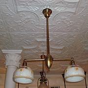 2 Arm Early Electric Ceiling Fixture with matching shades