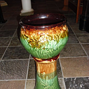 Vintage Jardiniere Pottery Stand and Planter, Robinson Ransbottom